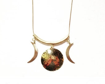 Gold Maiden Mother Crone Triple Goddess Necklace with Gold Crescent Moons and Hammered Brass Moon