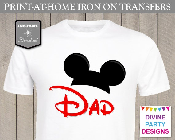 Instant Download Print At Home Mouse Ears Dad Printable Iron On Transfer T Shirt Family Trip