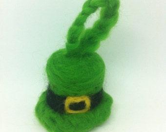 Irish Leprechaun Hat St Patricks Day Ireland Green Souveneir Keyring Dublin Galway Emerald Isle Needle Felted Wool Perfect Fathers Day Gift
