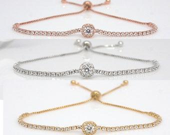 Isla - Rose Gold Bridal Bracelet, Wedding Swarovski Bracelet, Swarovski Crystal Bracelet,  Wedding Bridal Bracelet, Bridesmaid Bracelet