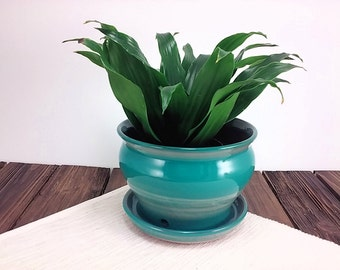 Ceramic planter flower pot for indoor or outdoor use with green glaze,  small space decor, gift for gardener