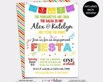 Fiesta Engagement Party Invitation Bridal Shower Invitation Papel Picado Mexican Fiesta Printable Couples Shower Fiesta - Digital File