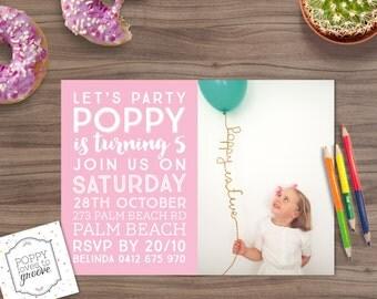 Printable Birthday Invitation, Mixed Font Photo Invitation, Custom Invitations, Kids Party Invitation, Birthday Invites, Digital file, 5x7