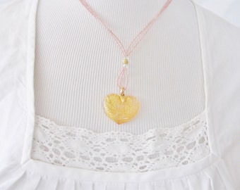 Vintage GLASS HEART Necklace, to go with Dirndl Trachten, Apricot Color, Valentine