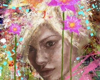 yossi original art - blooming day,  giclee print embellished