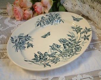 Antique french teal transferware oval serving platter. Teal transferware. Jasmine. Butterflies. Blue green transferware. Jeanne d'Arc living