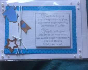 Ten Little Fingers -  Baby Card - Handmade