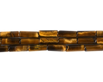 13mm Golden Tiger's Eye Cylinder tube loose gemstone beads 16""
