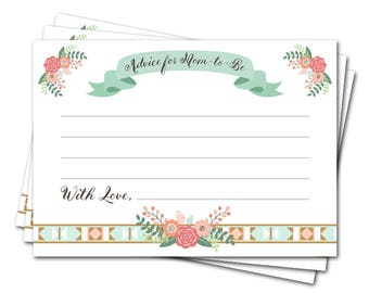 Advice Cards for New Mom   Mommy Advice Cards   Printable Floral Baby Shower Game   Instant Download   Deer Baby Girl Shower Theme   BB001A
