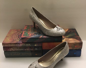 Harry Potter Themed Book Page High Heel Shoes