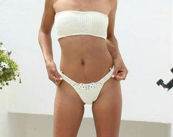 Model Sperlonga - knitted crochet bikini top (top elasticise). Brazilian bottom high cut