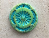 Handmade turquoise and green roundish abstract design rustic faux stoneware polymer clay focal pendant