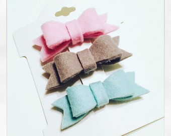 Felt bow hair clips (small)