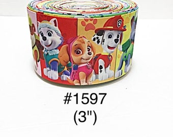 "2/3/5 yard - 3"" Paw Patrol Dog and Friends Multi Color (2) Jumbo Grosgrain Ribbon Cheer Bow"