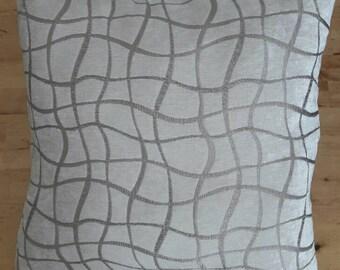 Cushion square design ivory velvet taupe