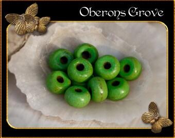 30 green Magnesite Beads 5x3mm