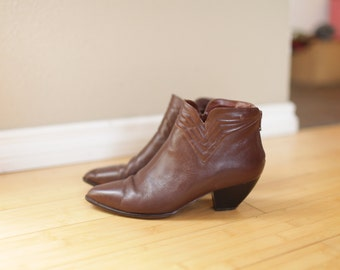vintage brown leather  ankle boots work booties womens  7 1/2