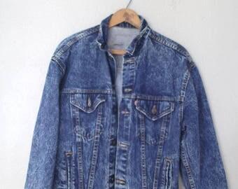 vintage levis cropped  black acid washed jean jacket