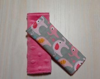 Car Seat Strap Covers - Grey w/ pink elephants