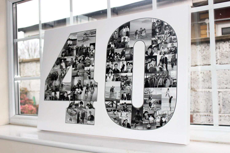 40 geburtstag geschenk collage leinwand drucken premium - Fotocollage auf leinwand drucken ...