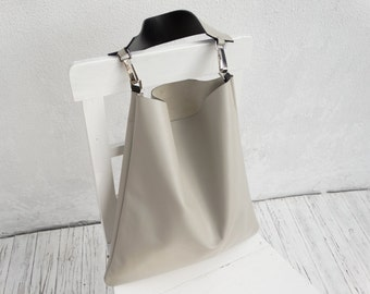 Sand Leather Shoulder Bag/Large Leather Slouch Bag/Big Leather Hobo Bag/Bone Color Hobo Bag/Ready to ship
