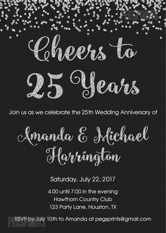 Schön 25. Jahrestag Einladungen   Druckbare 25. Hochzeit Jahrestag Einladungen    Cheers Bis 25 Jahre   Glitter 25 Jahrestag Einladungen
