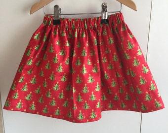 Girls handmade cotton Christmas tree skirt red 3-4 years