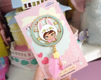Chic Kawaii enamel pin cute rabbit dreamcatcher, Large size, Wonderful