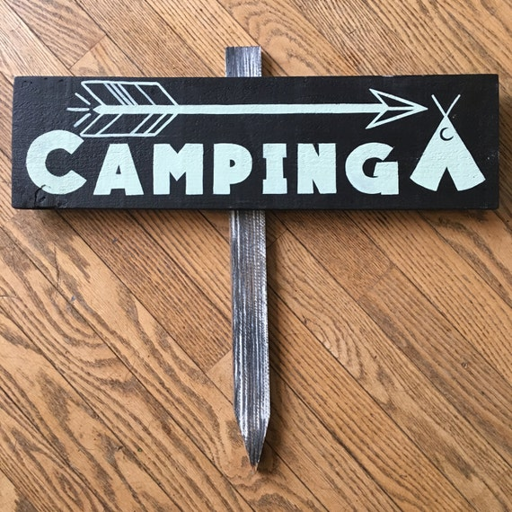 Camping || Hand Painted  Sign