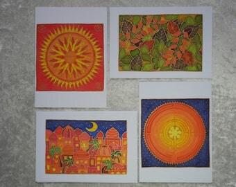 Set of 4 handpainted silk cards