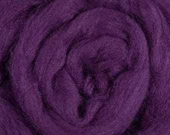 Dyed Merino - Eggplant - Solid color commercial dyed - combed top roving spinning felting fiber fibre arts  - purple