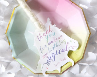 Printable Unicorn Horn party favor tags - Pastel rainbow lettering - Thank you for making my birthday magical - Girl birthday - Customizable