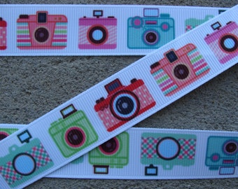 "Camera grosgrain ribbon 7/8"" Photography hair bow ribbon Paparazzi camera ribbon"