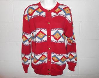 Vintage Women's IZOD Club Pebble Beach Nation Pro Am Golf Aztec Cardigan Sweater M