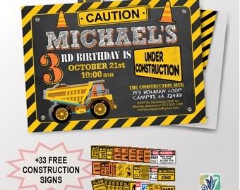 Construction Birthday Party Invite / Baby Boy Birthday Party Invitation / Dump Truck / Printable