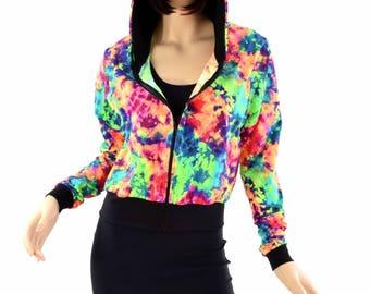 "Acid Splash Long Sleeve Zipper Front Cropped ""Kimberly"" Hoodie Jacket with Black Zen Hood Lining & Cuffs 154405"