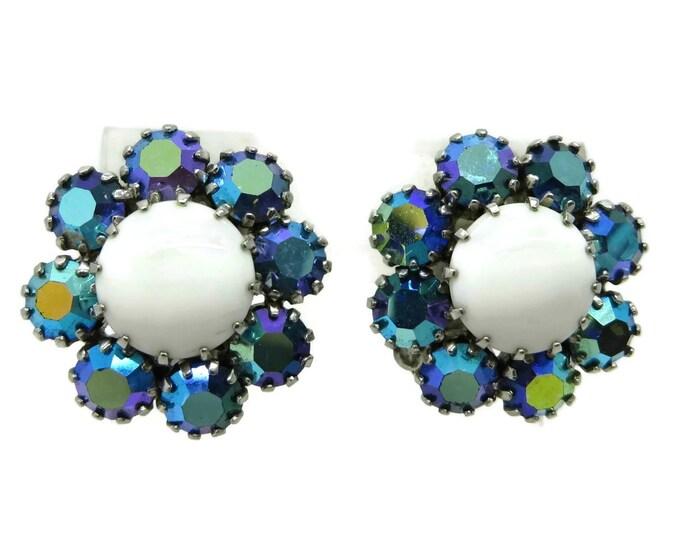 Weiss Milk Glass Earrings, Vintage AB Rhinestone Flower Clip-on Earrings