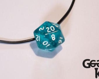 D20 necklace, d20, dice. dungeons and dragons