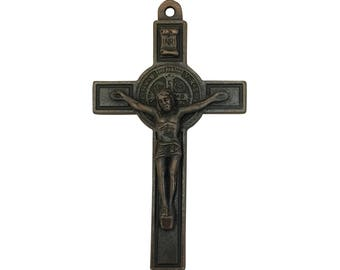1 Copper Crucifix Pendant Necklace with St Benedict Medal 76x43mm by TIJC SP1529