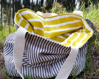Large Slouchy Fabric Tote - Reversible