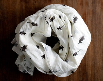 Linen scarf: stamped forest, tree pattern, block printed black and white modern patterned scarf, natural eco friendly wrap with pine trees