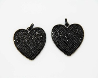 Black CZ Micro Pave 30mm Heart Pendant