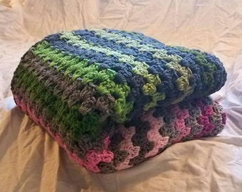 Crochet Green and Pink Granny Square Stripe Baby/Crib Blanket