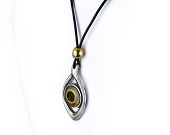 Eye Necklace,  Antiqued Silver Pendant with Bronze Eye , Bohemian Leather Necklace, Mixed Metals Necklace