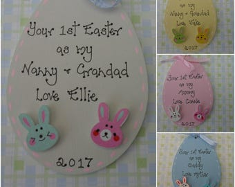 Personalised first 1st sEaster Egg wooden handcrafted plaque for parents grandparents