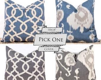 "SALE ENDS SOON Ikat Pillows, Blue Throw Pillows, Gray Cushion Covers, Decorative Lattice Pillows, Pillow Pairs, 18 x 18"""