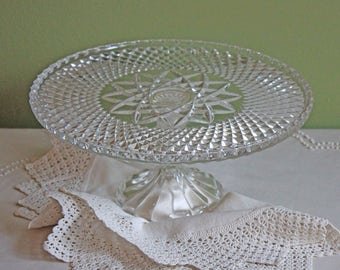 Cake Stand. Glass Cake Stand.  Footed Clear Glass Dessert or Pastry Display. Diamond Design with Star in Center Cake Stand.