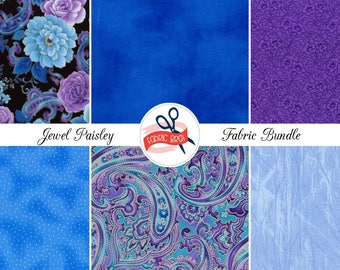 TEAL & PURPLE PAISLEY Fabric Bundle by the Yard, Fat Quarter Bundle Royal Blue Floral Fabric 100% Cotton Fabric Quilt Fabric Apparel Fabric
