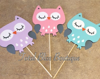 3 PC Owl Centerpiece, Owl Party Favors, Owl Theme Party, Owl Decorations, Owl Theme Baby Shower, Woodland Gender Neutral Party