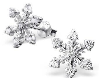 CZ Snowflake Stud Earrings 925 Sterling Silver - ES1452